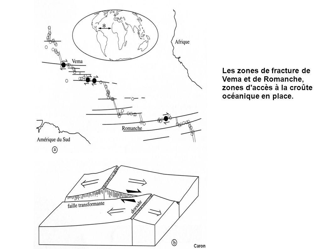 Les zones de fracture de Vema et de Romanche, zones d'accès à la croûte océanique en place.