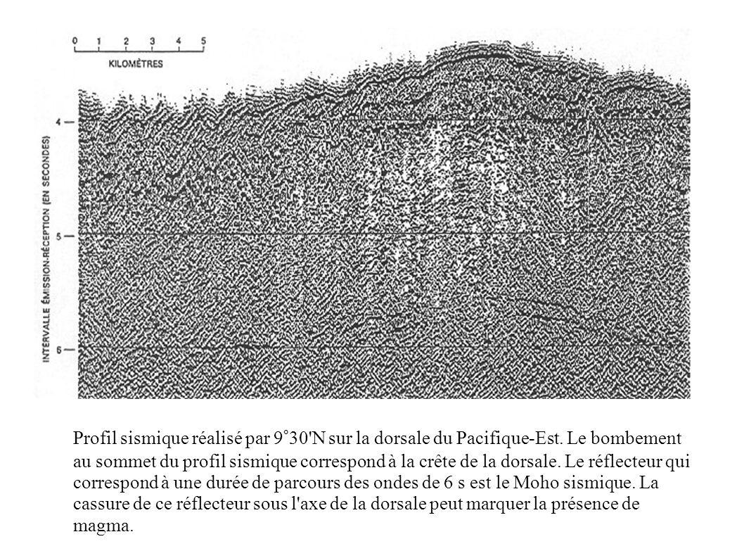 Profil sismique réalisé par 9°30'N sur la dorsale du Pacifique-Est. Le bombement au sommet du profil sismique correspond à la crête de la dorsale. Le