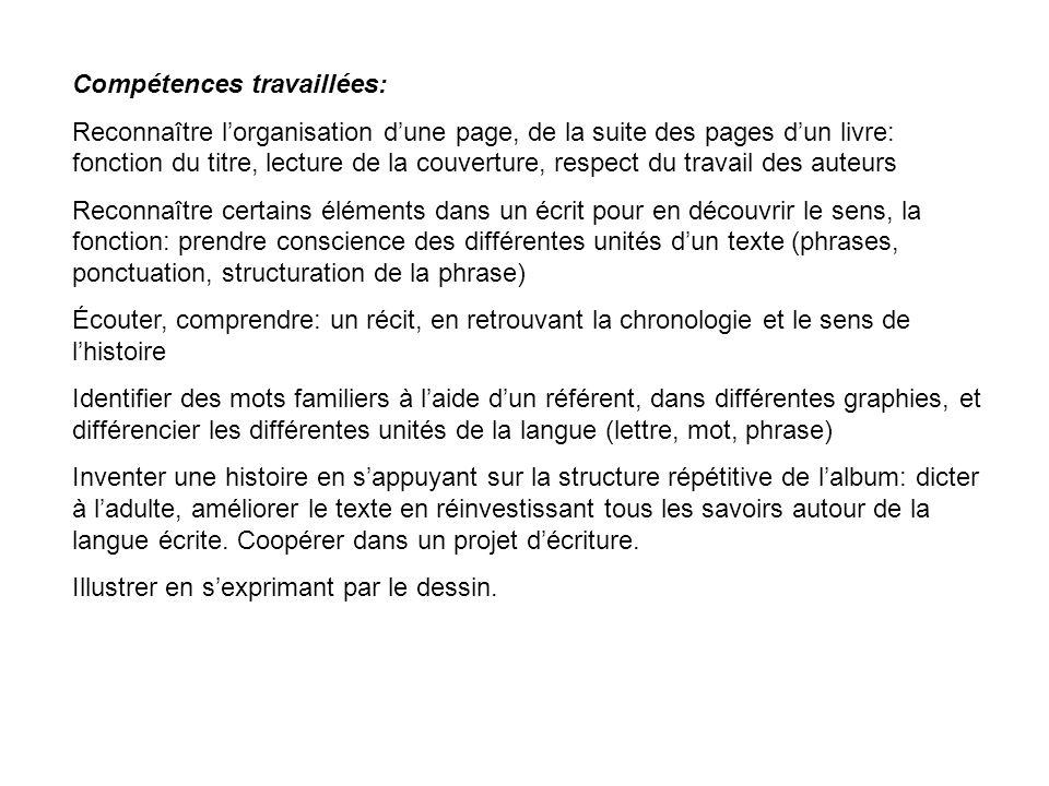 Compétences travaillées: Reconnaître lorganisation dune page, de la suite des pages dun livre: fonction du titre, lecture de la couverture, respect du