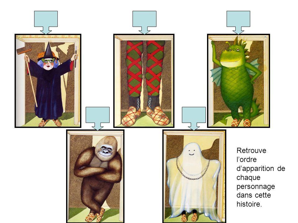 Retrouve lordre dapparition de chaque personnage dans cette histoire.