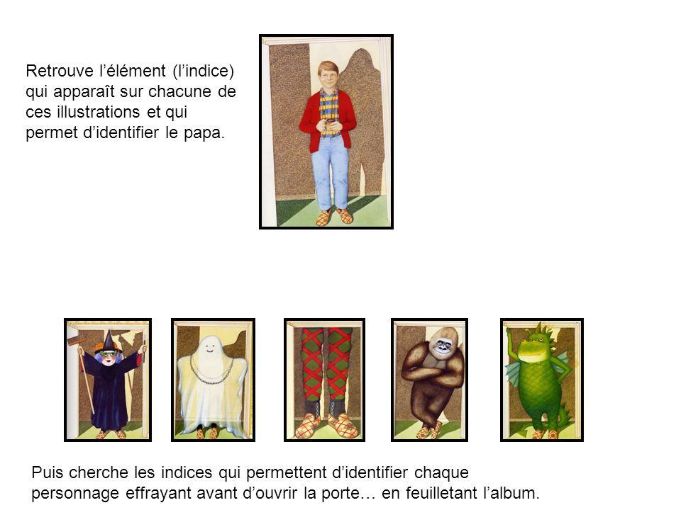 Retrouve lélément (lindice) qui apparaît sur chacune de ces illustrations et qui permet didentifier le papa. Puis cherche les indices qui permettent d