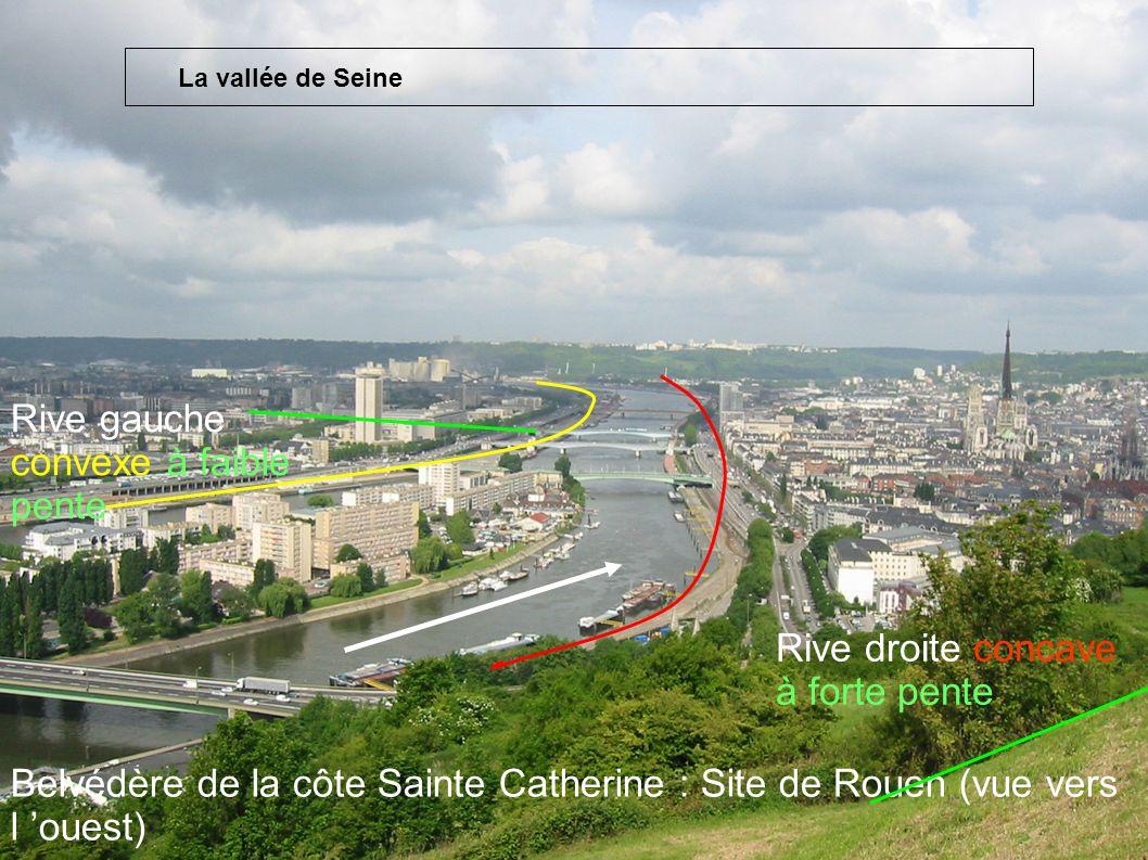 Belvédère de la côte Sainte Catherine : Site de Rouen (vue vers l ouest) Rive droite concave à forte pente Rive gauche convexe à faible pente La vallé