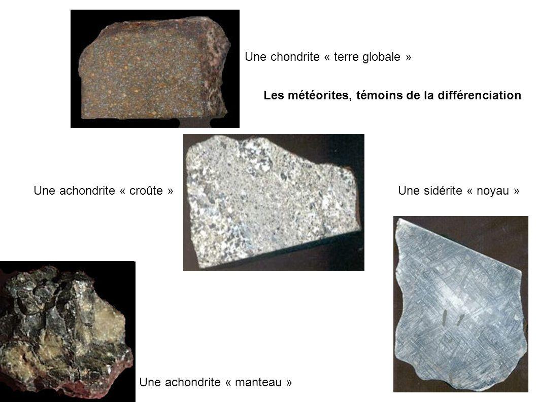 Une chondrite « terre globale » Une achondrite « croûte » Une achondrite « manteau » Une sidérite « noyau » Les météorites, témoins de la différenciation