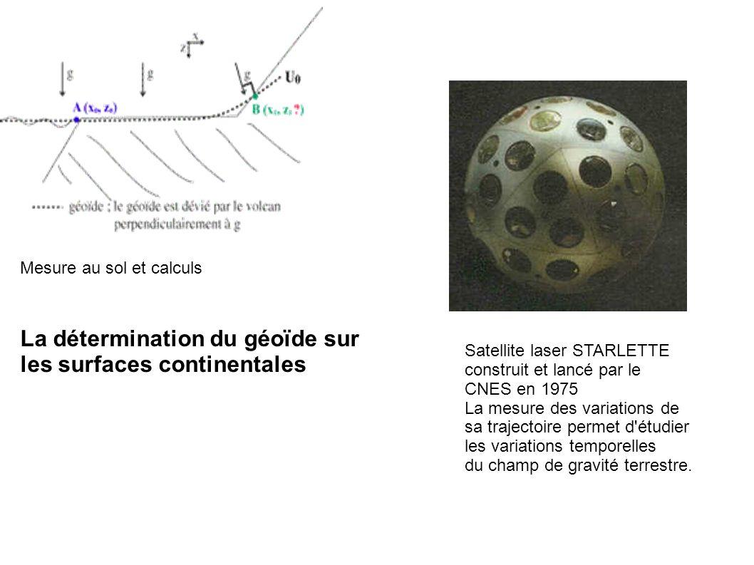 Mesure au sol et calculs La détermination du géoïde sur les surfaces continentales Satellite laser STARLETTE construit et lancé par le CNES en 1975 La