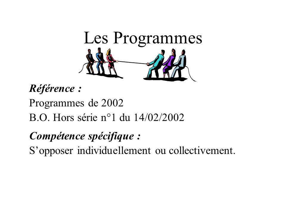 Les Programmes Référence : Programmes de 2002 B.O. Hors série n°1 du 14/02/2002 Compétence spécifique : Sopposer individuellement ou collectivement.