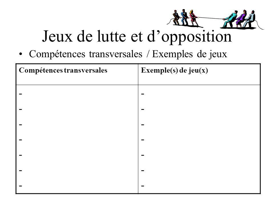 Jeux de lutte et dopposition Compétences transversales / Exemples de jeux Compétences transversalesExemple(s) de jeu(x) -------------- --------------