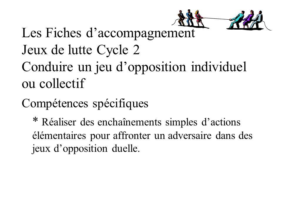 Les Fiches daccompagnement Jeux de lutte Cycle 2 Conduire un jeu dopposition individuel ou collectif Compétences spécifiques * Réaliser des enchaîneme