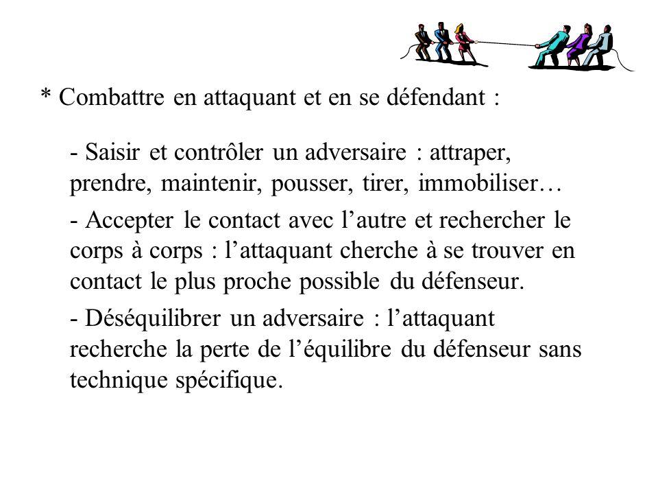 Exemples de compétences à atteindre en fin de cycle Comme attaquant : - Dans un combat à 2, agir sur son adversaire au sol pour le contrôler et lobliger à se retourner.