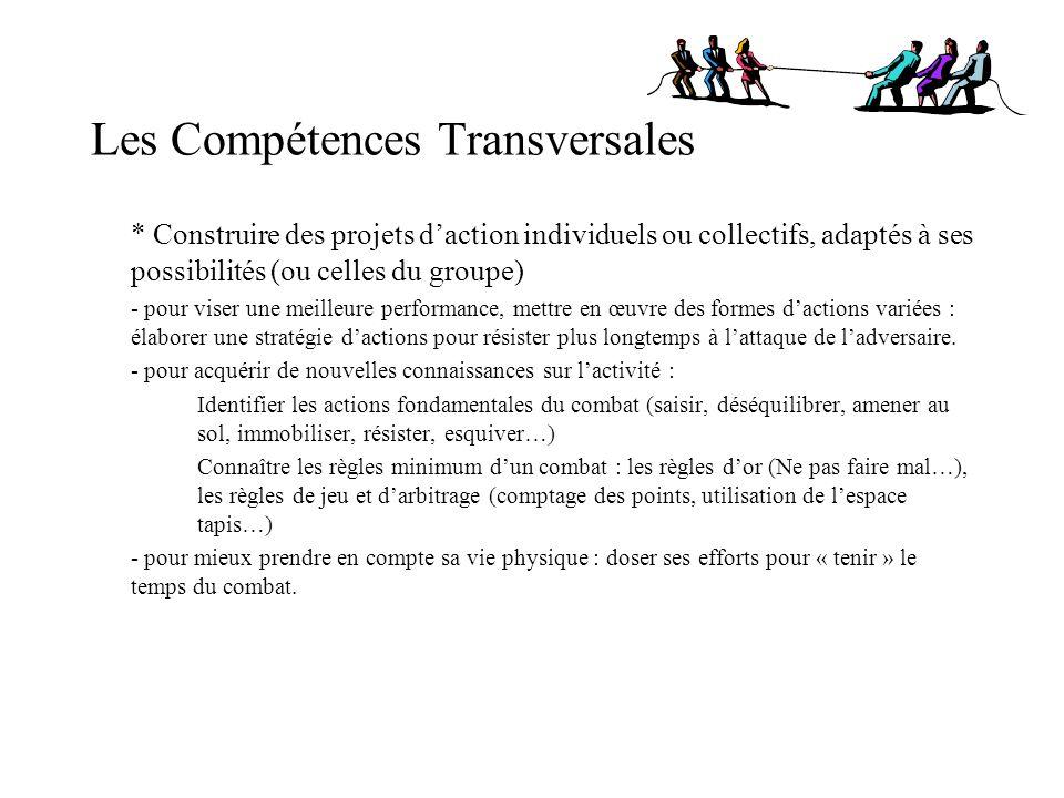 Les Compétences Transversales * Construire des projets daction individuels ou collectifs, adaptés à ses possibilités (ou celles du groupe) - pour vise