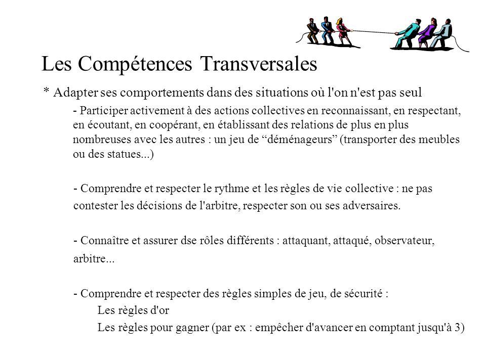 Les Compétences Transversales * Adapter ses comportements dans des situations où l'on n'est pas seul - Participer activement à des actions collectives