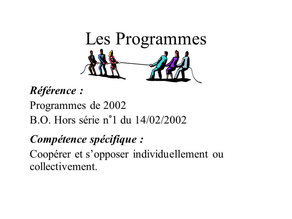 Les Programmes Référence : Programmes de 2002 B.O. Hors série n°1 du 14/02/2002 Compétence spécifique : Coopérer et sopposer individuellement ou colle