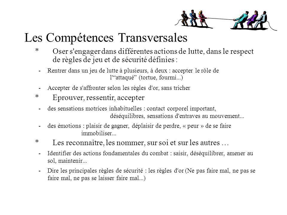Les Compétences Transversales * Oser s'engager dans différentes actions de lutte, dans le respect de règles de jeu et de sécurité définies : - Rentrer