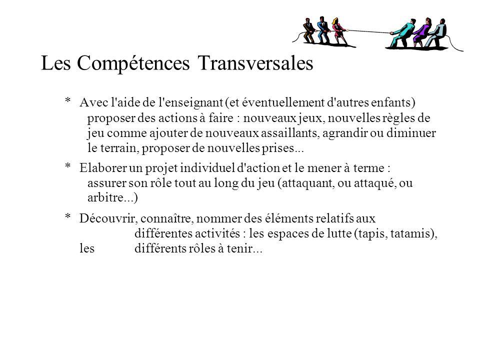 Les Compétences Transversales *Avec l'aide de l'enseignant (et éventuellement d'autres enfants) proposer des actions à faire : nouveaux jeux, nouvelle