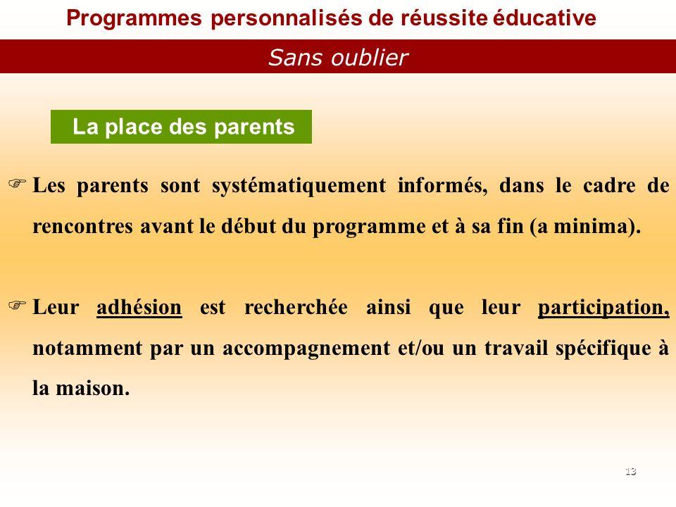Programmes personnalisés de réussite éducative Sans oublier La place des parents Les parents sont systématiquement informés, dans le cadre de rencontres avant le début du programme et à sa fin (a minima).