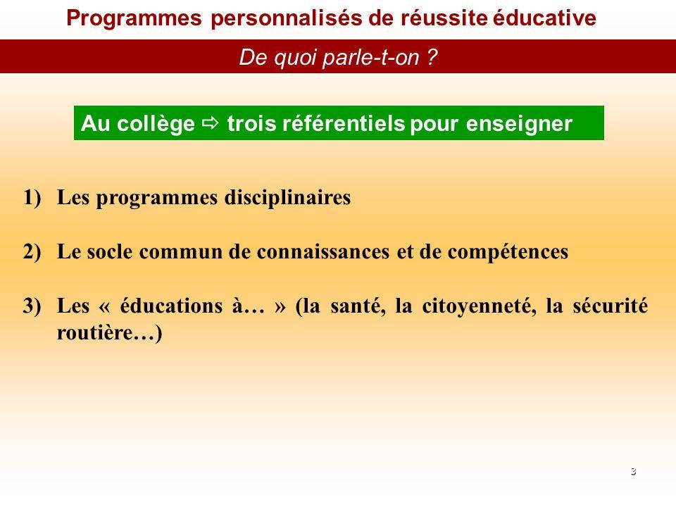 Programmes personnalisés de réussite éducative De quoi parle-t-on .