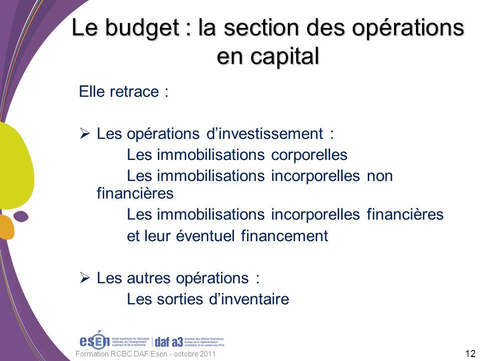 Elle retrace : Les opérations dinvestissement : Les immobilisations corporelles Les immobilisations incorporelles non financières Les immobilisations