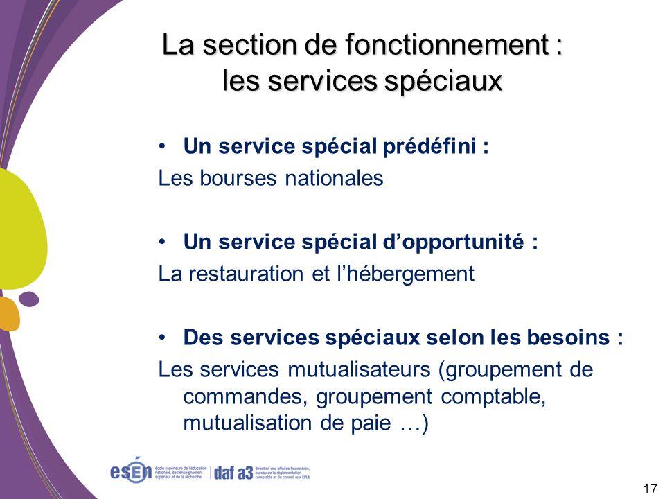 La section de fonctionnement : les services spéciaux Un service spécial prédéfini : Les bourses nationales Un service spécial dopportunité : La restau