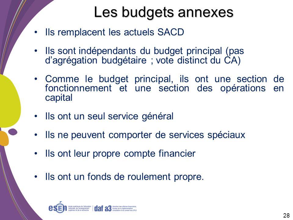 Les budgets annexes Ils remplacent les actuels SACD Ils sont indépendants du budget principal (pas dagrégation budgétaire ; vote distinct du CA) Comme