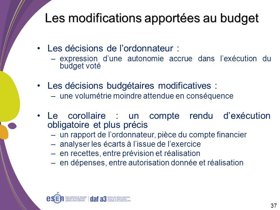 37 Les modifications apportées au budget Les décisions de lordonnateur : –expression dune autonomie accrue dans lexécution du budget voté Les décision