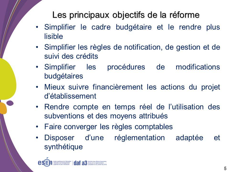 Les principaux objectifs de la réforme Simplifier le cadre budgétaire et le rendre plus lisible Simplifier les règles de notification, de gestion et d