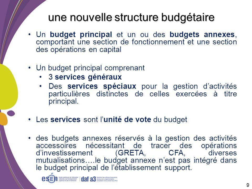 Un budget principal et un ou des budgets annexes, comportant une section de fonctionnement et une section des opérations en capital Un budget principa
