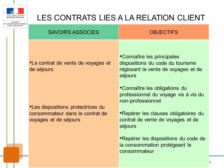 8 LES CONTRATS LIES A LA RELATION CLIENT SAVOIRS ASSOCIESOBJECTIFS Le contrat de vente de voyages et de séjours Les dispositions protectrices du conso