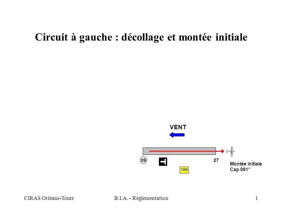 CIRAS Orléans-ToursB.I.A. - Réglementation1 Circuit à gauche : décollage et montée initiale VENT Montée initiale Cap 091° TWR 09 27