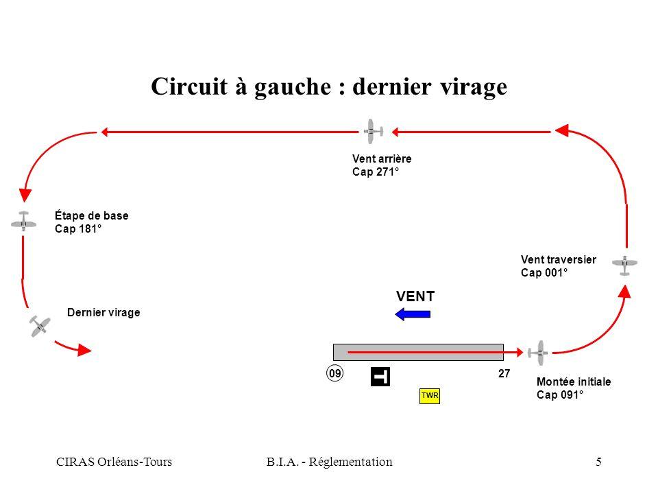 CIRAS Orléans-ToursB.I.A. - Réglementation5 Circuit à gauche : dernier virage VENT Montée initiale Cap 091° Vent traversier Cap 001° Vent arrière Cap