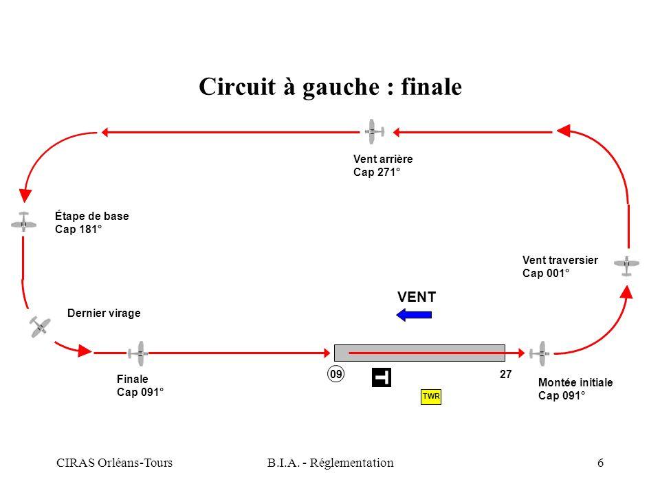 CIRAS Orléans-ToursB.I.A. - Réglementation6 Circuit à gauche : finale VENT Montée initiale Cap 091° Vent traversier Cap 001° Vent arrière Cap 271° Éta