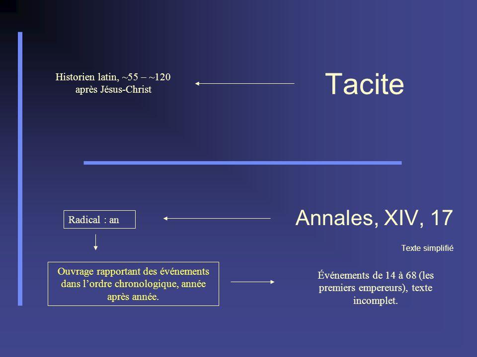 Tacite Annales, XIV, 17 Texte simplifié Historien latin, ~55 – ~120 après Jésus-Christ Radical : an Ouvrage rapportant des événements dans lordre chro