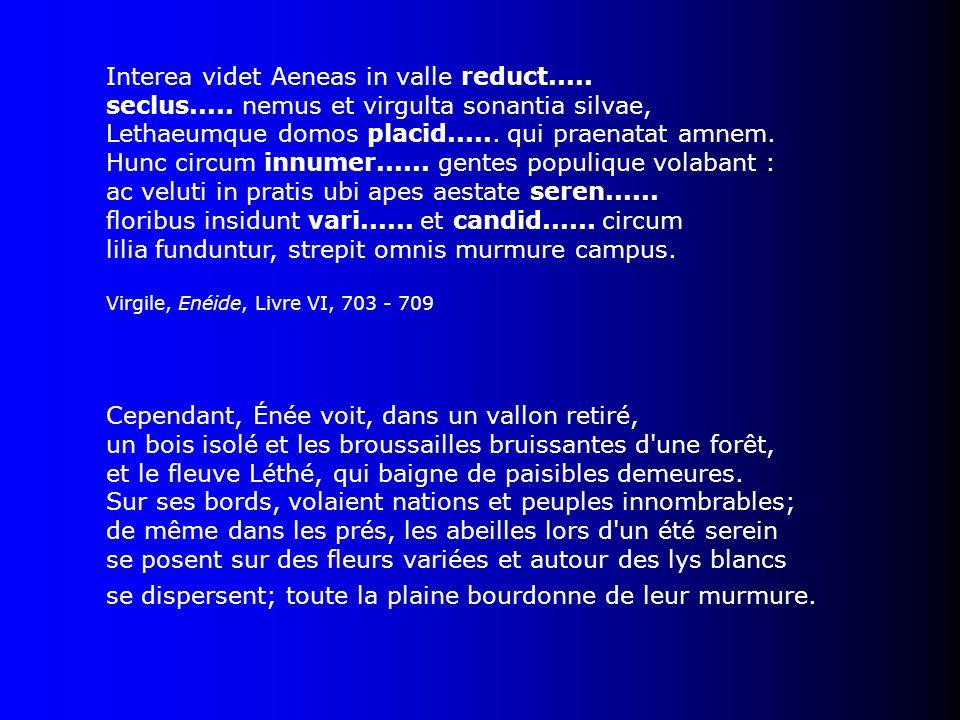 Interea videt Aeneas in valle reduct..... seclus..... nemus et virgulta sonantia silvae, Lethaeumque domos placid...... qui praenatat amnem. Hunc circ
