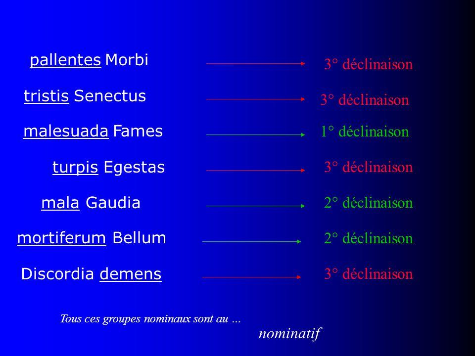 pallentes Morbi tristis Senectus malesuada Fames turpis Egestas mala Gaudia mortiferum Bellum Discordia demens Tous ces groupes nominaux sont au … nom