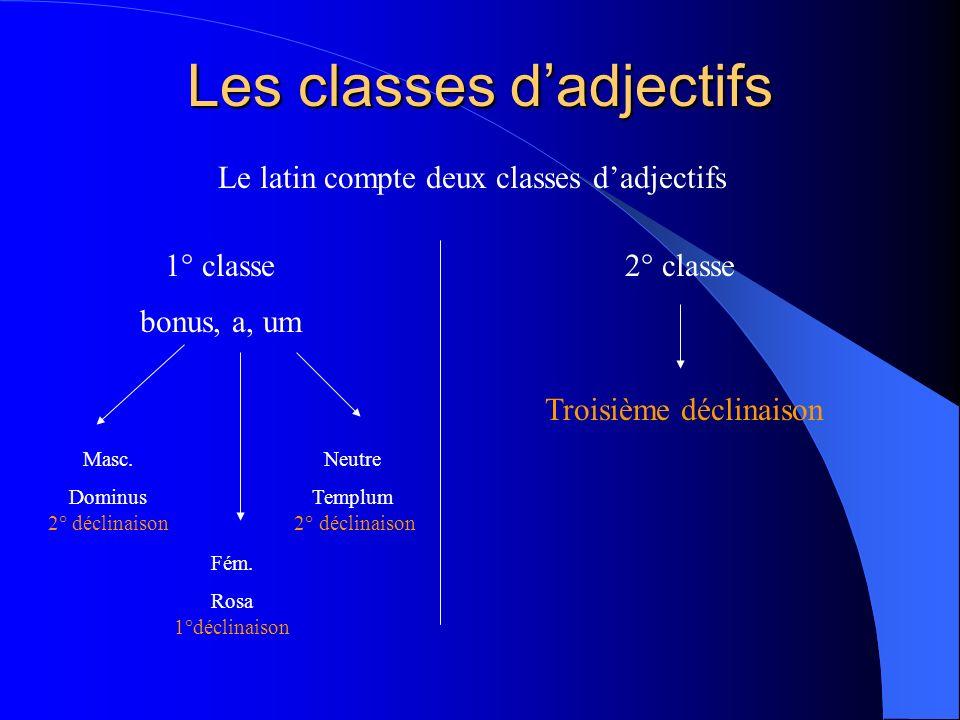 Les classes dadjectifs Le latin compte deux classes dadjectifs 1° classe bonus, a, um Masc. Dominus 2° déclinaison Fém. Rosa 1°déclinaison Neutre Temp
