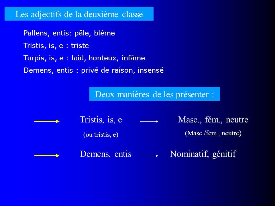 Les adjectifs de la deuxième classe Pallens, entis: pâle, blême Tristis, is, e : triste Turpis, is, e : laid, honteux, infâme Demens, entis : privé de
