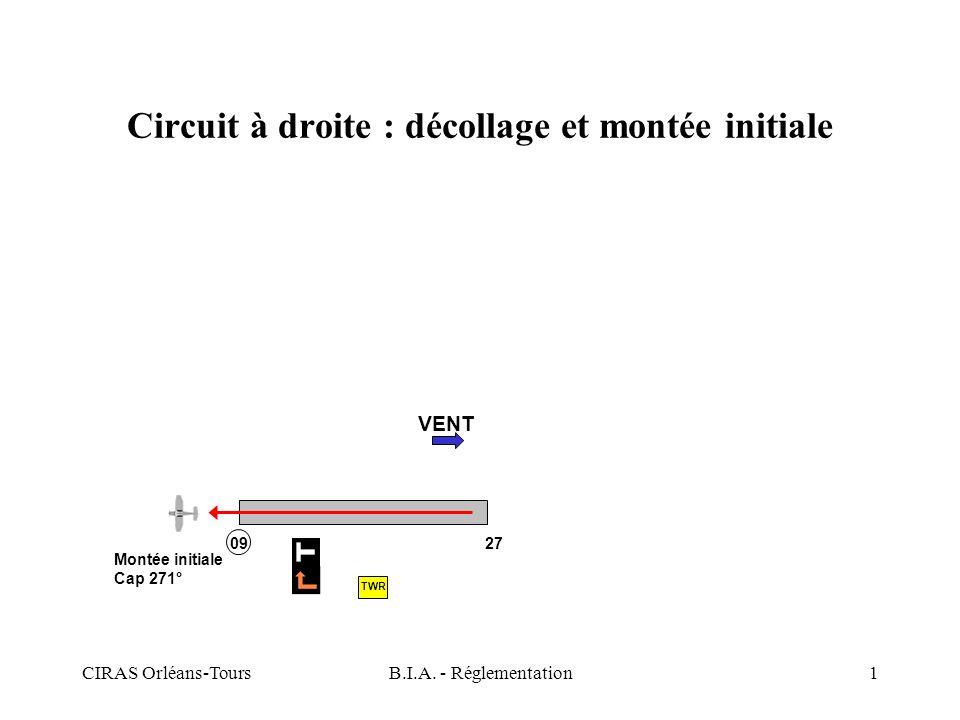 CIRAS Orléans-ToursB.I.A. - Réglementation1 Circuit à droite : décollage et montée initiale VENT Montée initiale Cap 271° 09 27 TWR