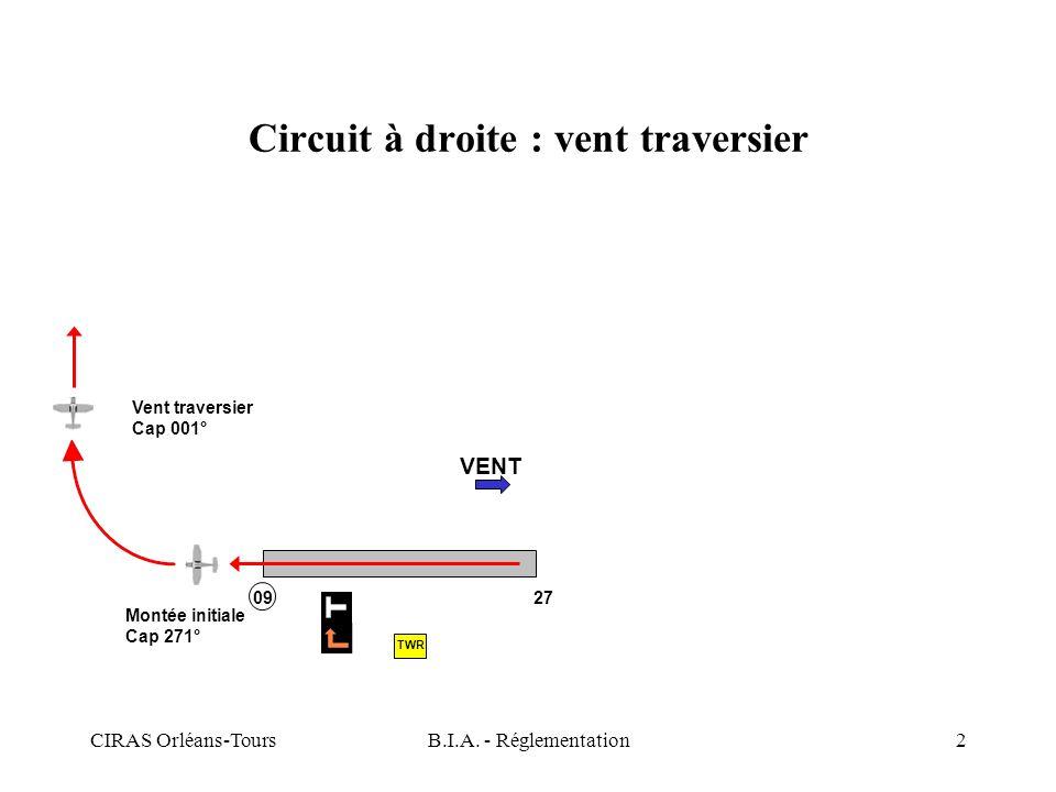 CIRAS Orléans-ToursB.I.A. - Réglementation2 Circuit à droite : vent traversier VENT Montée initiale Cap 271° Vent traversier Cap 001° 09 27 TWR