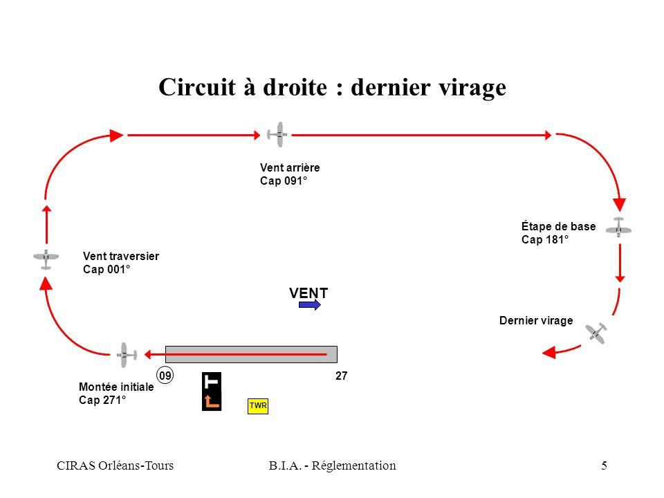 CIRAS Orléans-ToursB.I.A. - Réglementation5 Circuit à droite : dernier virage VENT Montée initiale Cap 271° Vent traversier Cap 001° Vent arrière Cap