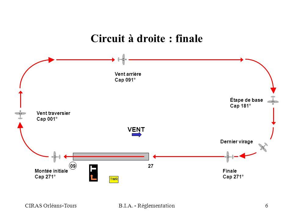 CIRAS Orléans-ToursB.I.A. - Réglementation6 Circuit à droite : finale VENT Montée initiale Cap 271° Vent traversier Cap 001° Vent arrière Cap 091° Éta