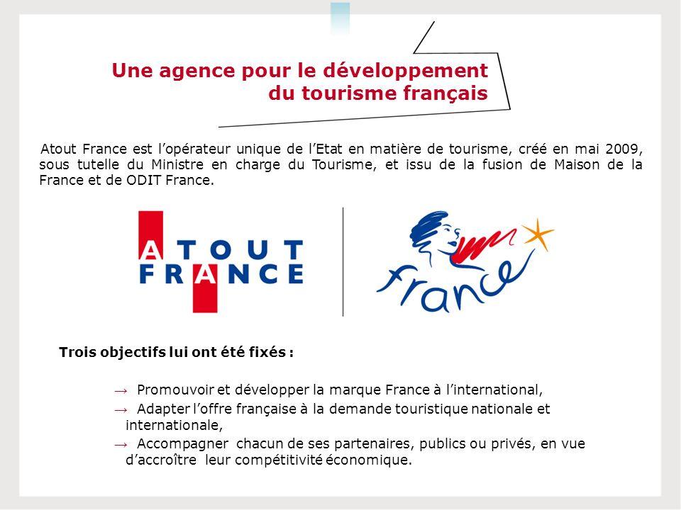 Une agence pour le développement du tourisme français Atout France est lopérateur unique de lEtat en matière de tourisme, créé en mai 2009, sous tutelle du Ministre en charge du Tourisme, et issu de la fusion de Maison de la France et de ODIT France.