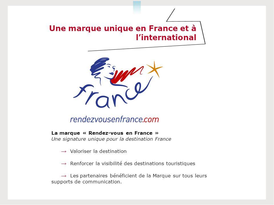 Une marque unique en France et à linternational La marque « Rendez-vous en France » Une signature unique pour la destination France Valoriser la desti