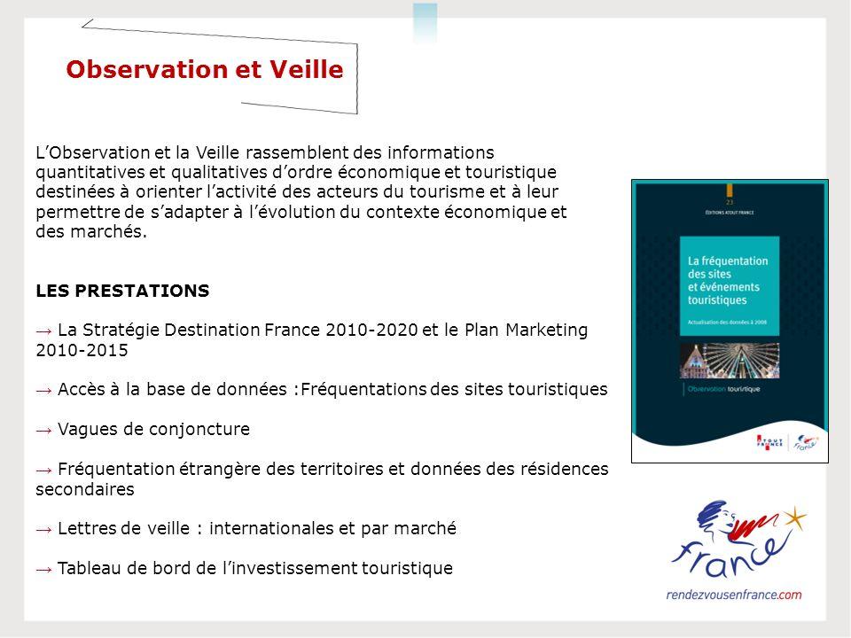 LES PRESTATIONS La Stratégie Destination France 2010-2020 et le Plan Marketing 2010-2015 Accès à la base de données :Fréquentations des sites touristi