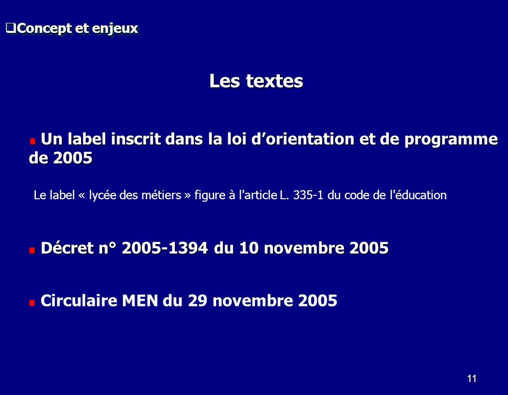 11 Circulaire MEN du 29 novembre 2005 Décret n° 2005-1394 du 10 novembre 2005 Décret n° 2005-1394 du 10 novembre 2005 Les textes Le label « lycée des