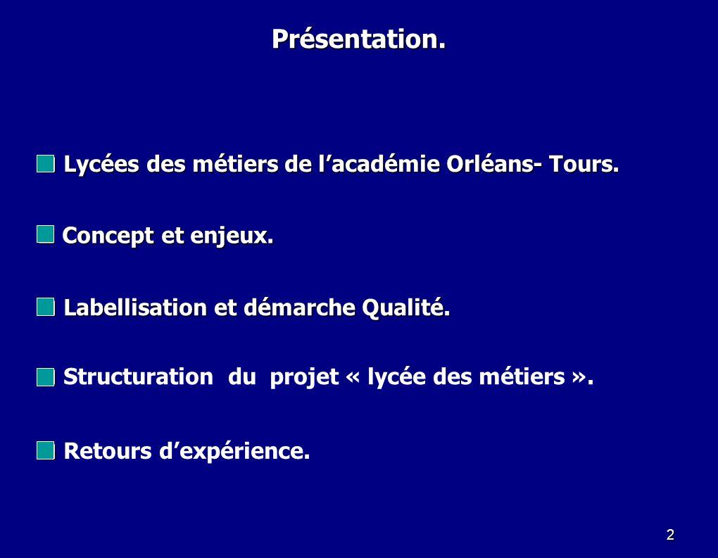 2 Lycées des métiers de lacadémie Orléans- Tours. Lycées des métiers de lacadémie Orléans- Tours. Présentation. Structuration du projet « lycée des mé