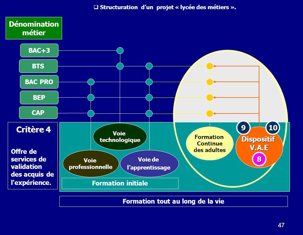 47 Voie de lapprentissage Voie technologique Voie professionnelle BTS BAC+3 BEP CAP BAC PRO Formation Continue des adultes DispositifV.A.E Formation i