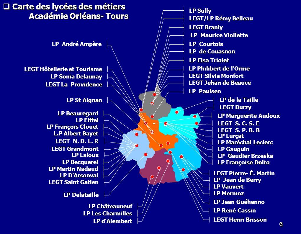 37 Structuration du projet « lycée des métiers ».