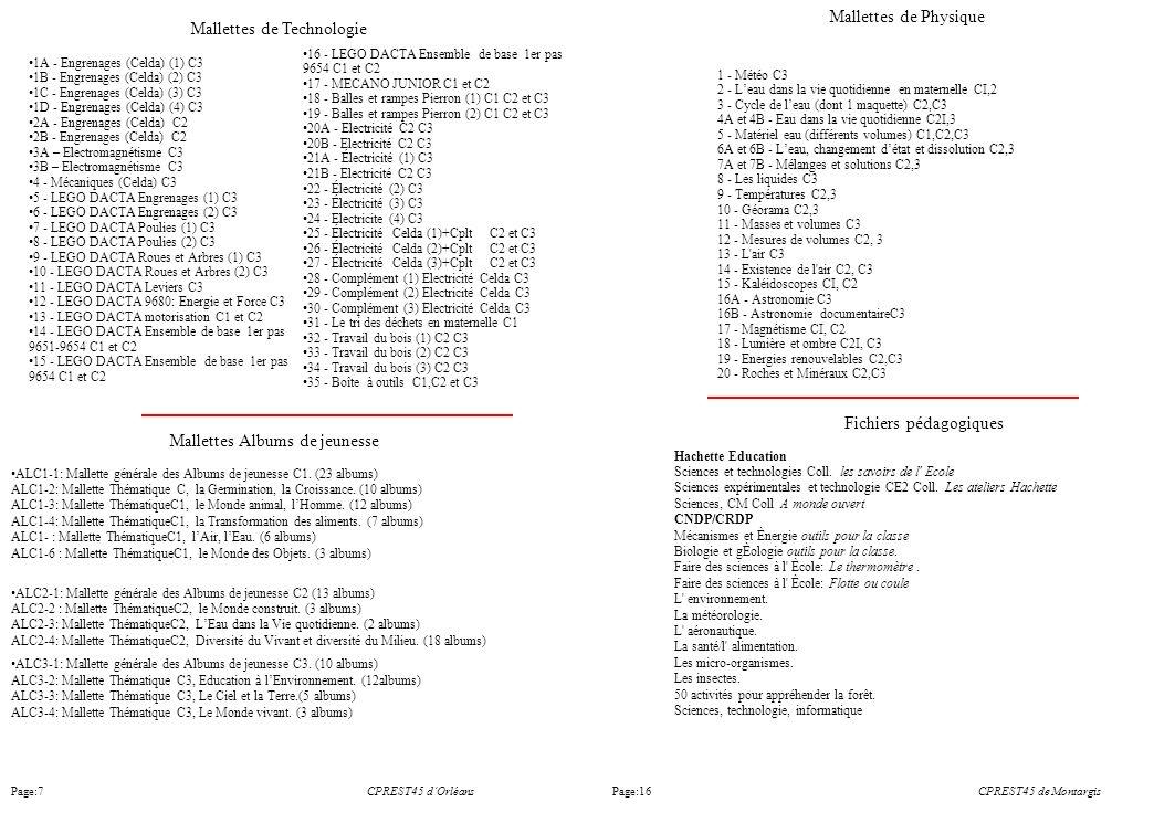 CPREST45 dOrléans Mallettes Albums de jeunesse ALC1-1: Mallette générale des Albums de jeunesse C1. (23 albums) ALC1-2: Mallette Thématique C, la Germ