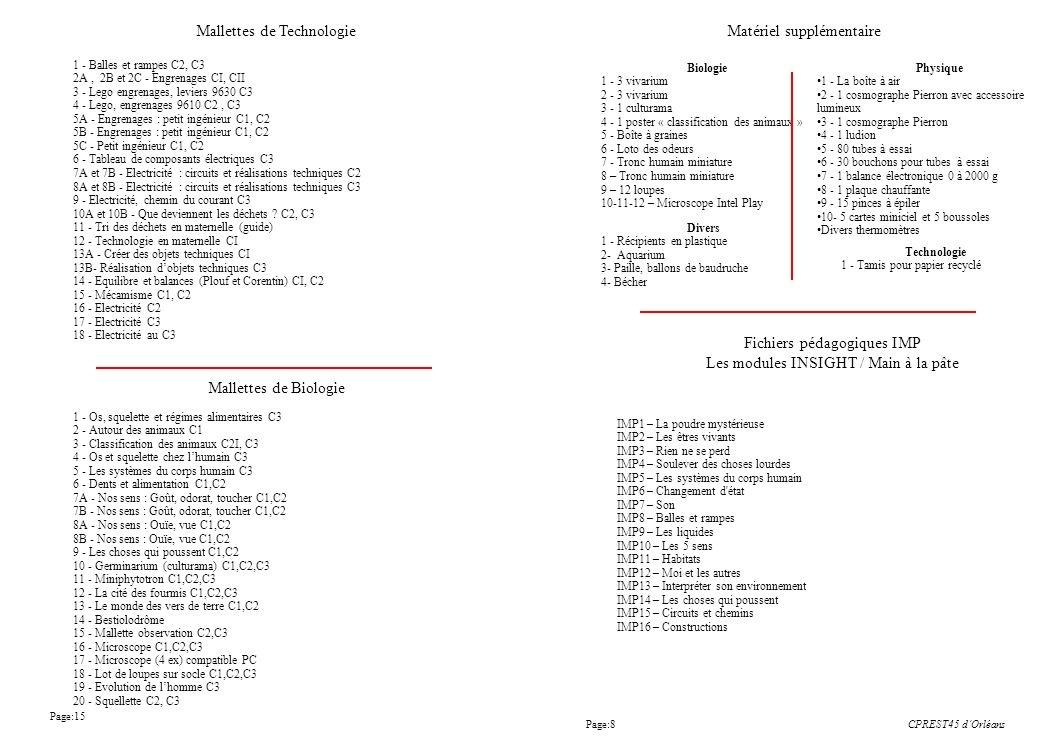 Page:15 CPREST45 dOrléans Biologie 1 - 3 vivarium 2 - 3 vivarium 3 - 1 culturama 4 - 1 poster « classification des animaux » 5 - Boîte à graines 6 - L