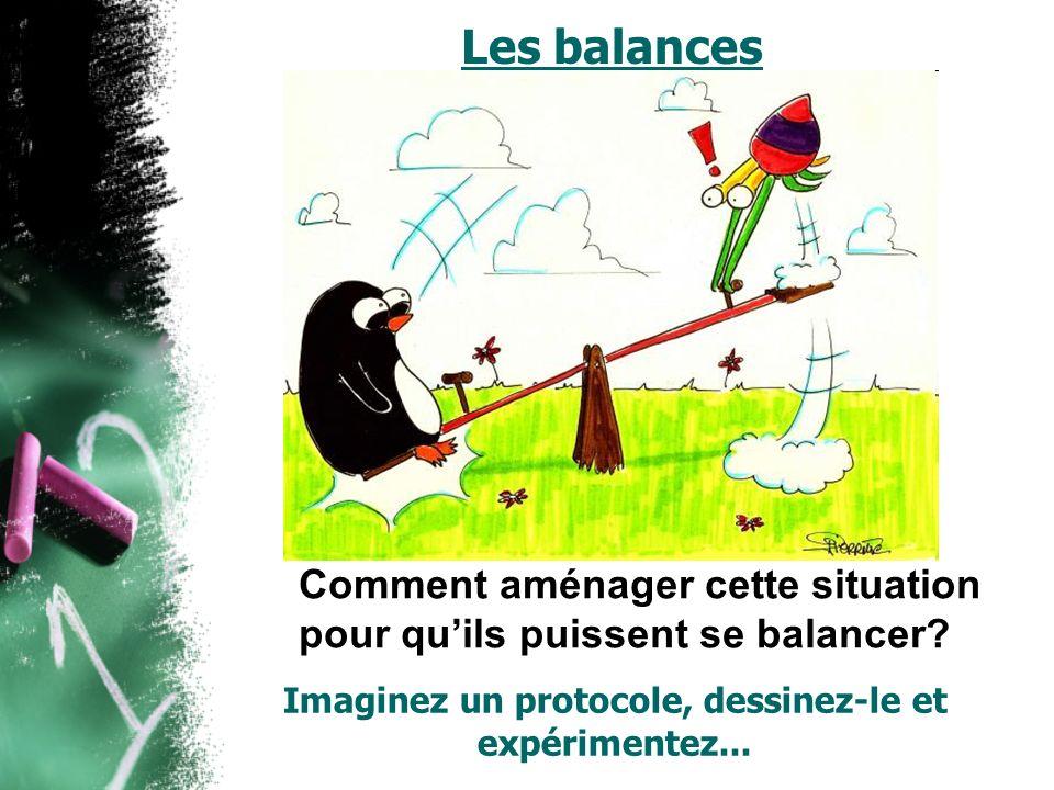 Les balances Comment aménager cette situation pour quils puissent se balancer? Imaginez un protocole, dessinez-le et expérimentez...