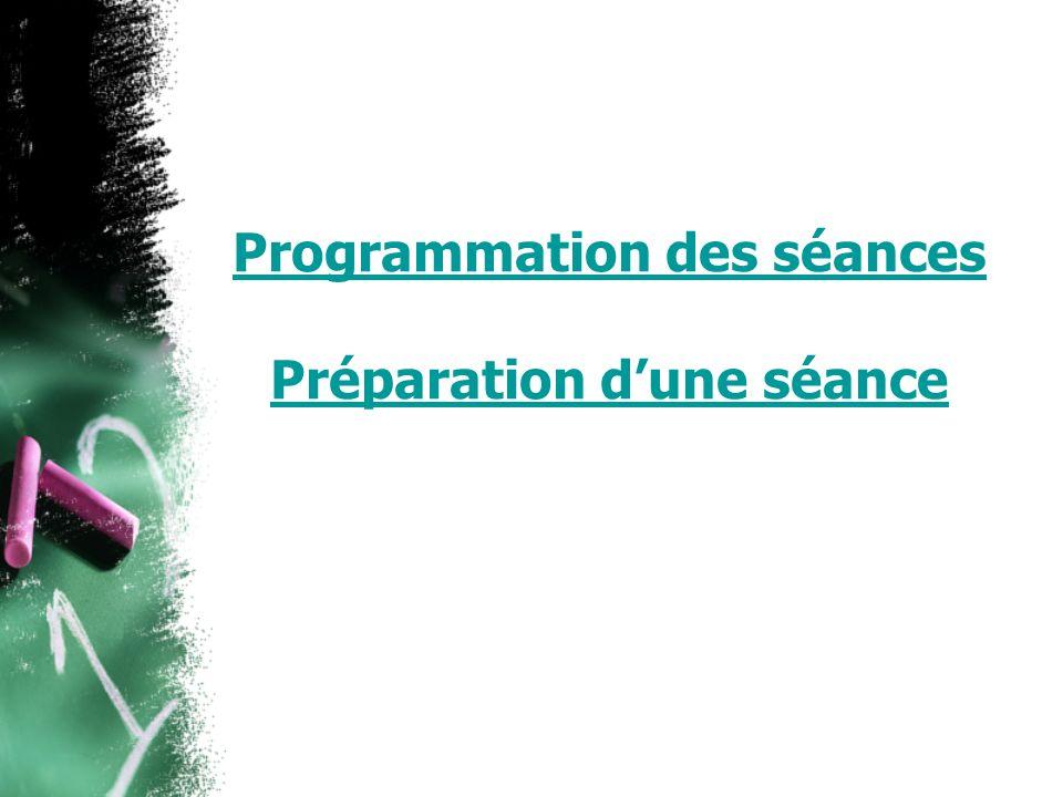 Programmation des séances Préparation dune séance