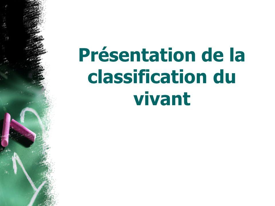Présentation de la classification du vivant